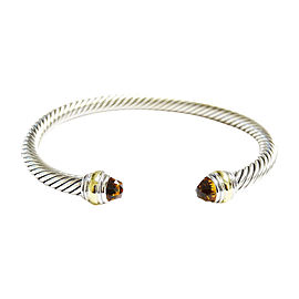 David Yurman Silver/14K Yellow Gold 5mm Citrine Cable Classic Cuff Bracelet