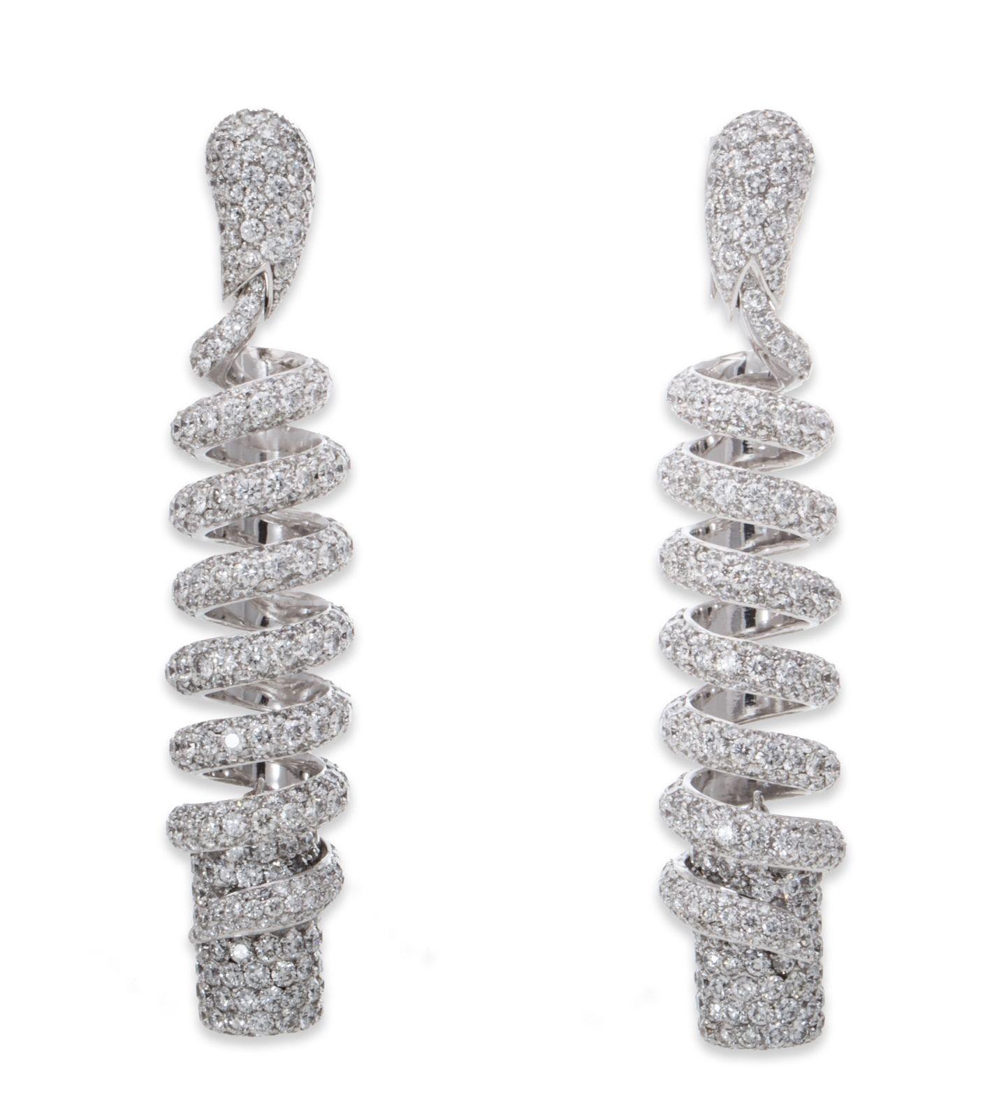 """Image of """"De Grisogono 18K White Gold Diamond Spiral Earrings"""""""