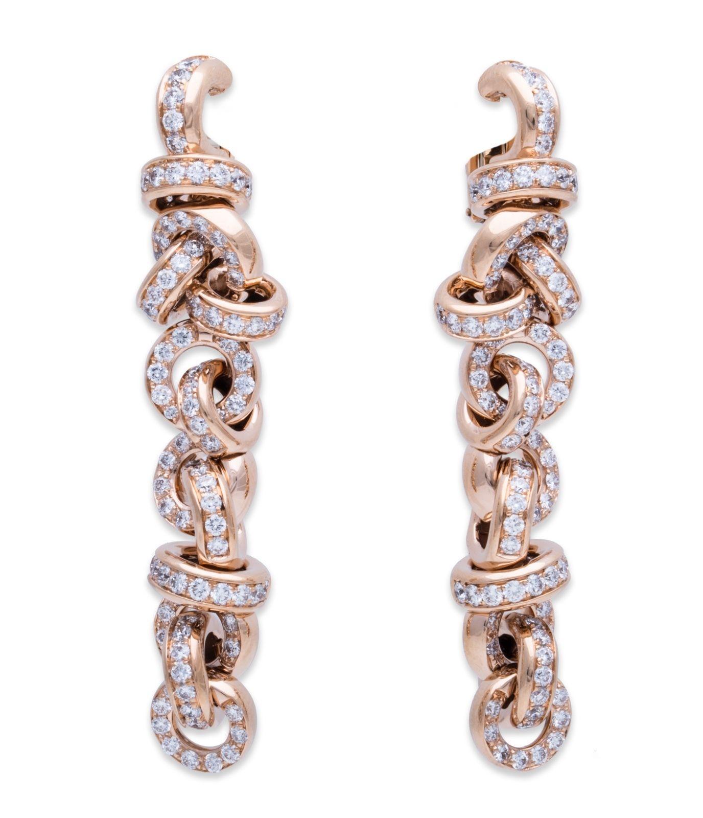 "Image of ""De Grisogono 18K Rose Gold Diamond Earrings"""