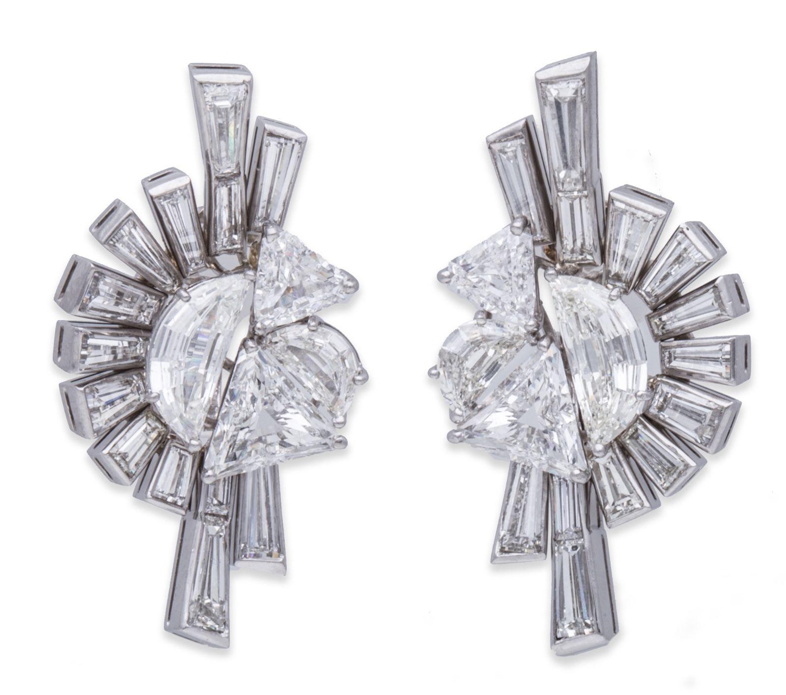 "Image of ""Fred Leighton 18K White Gold & 22.10ct Diamond Earrings"""