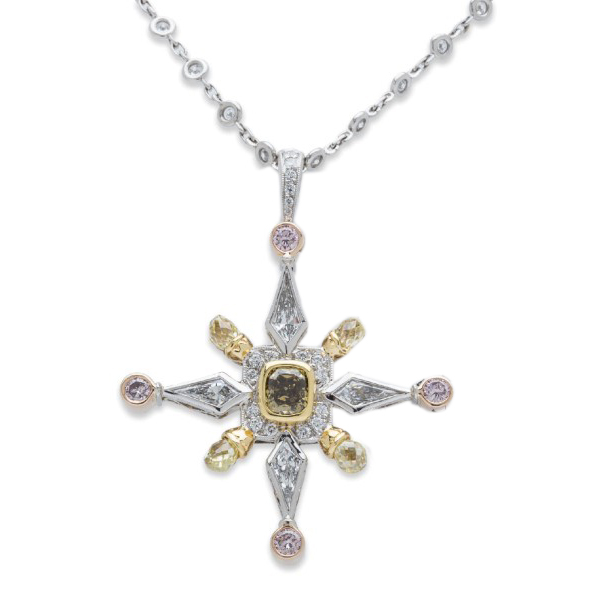 "Image of ""Michael Beaudry Platinum & 18K Rose Gold 4.75ct Diamond Pendant"""
