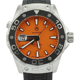 Tag Heuer Aqua Racer WAJ1113 Stainless Steel 500m Orange Deep Diver Quartz Mens Watch