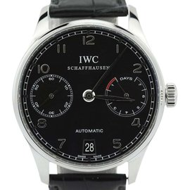 IWC Portuguese IW5001 7 Day Black Dial Automatic Mens Watch