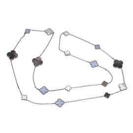 Van Cleef & Arpels 18K White Gold MOP & Chalcedony Alhambra Motifs Necklace