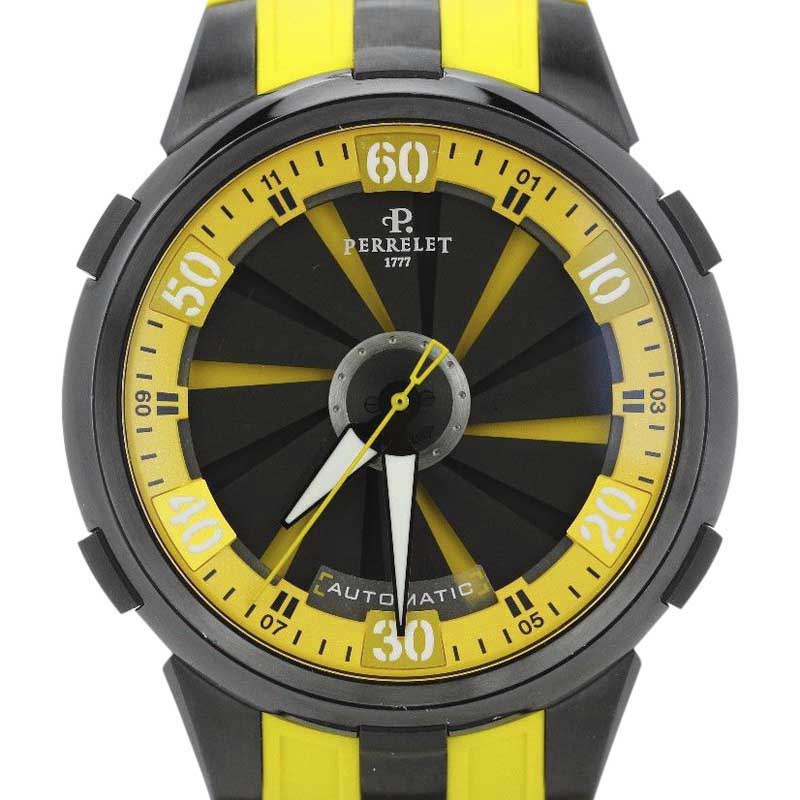 """Image of """"Perrelet Turbine Racing XL A1051/7 Black Dial Yellow Strap Mens Watch"""""""