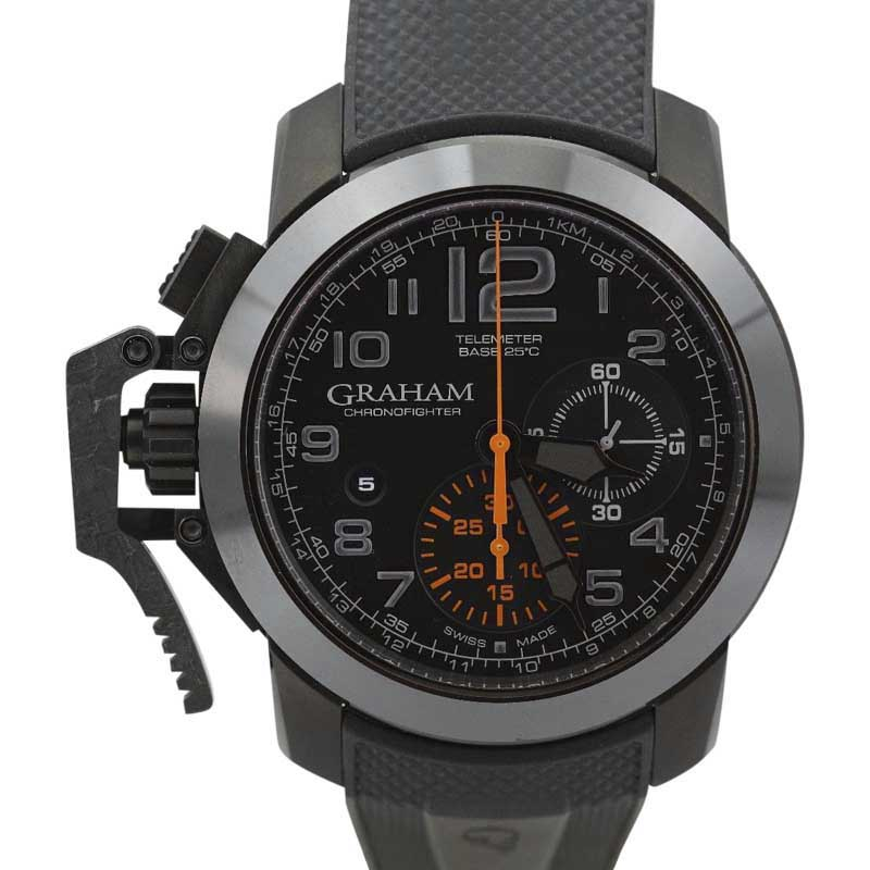 "Image of ""Graham Chronofighter Gr2Ffdx01 Carbon Black & Orange Dial Mens Watch"""