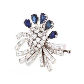 Platinum 10ct Diamond and Sapphire Brooch