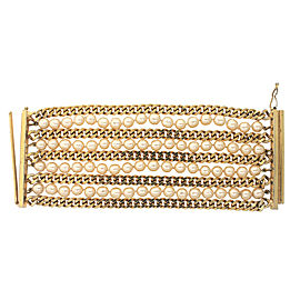 Chanel Gold Toned Faux Pearl Chain Statement Vintage Bracelet