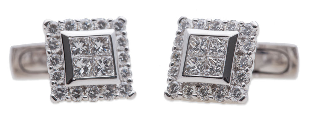 "Image of ""Luca Carati 18k White Gold Diamond Cufflinks"""