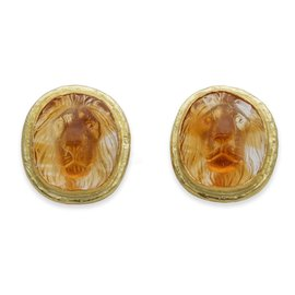 Lion's Head 18K Yllow Gold Hand Carved Citrine Cufflinks