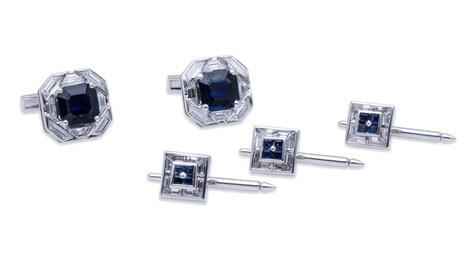 "Image of ""David Webb 18K White Gold Sapphire Diamond Cufflink and Stud Set"""