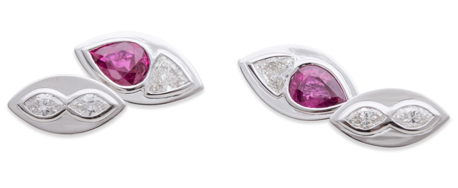 "Image of ""Sabbadini 18K White Gold Diamonds Ruby Cufflinks"""