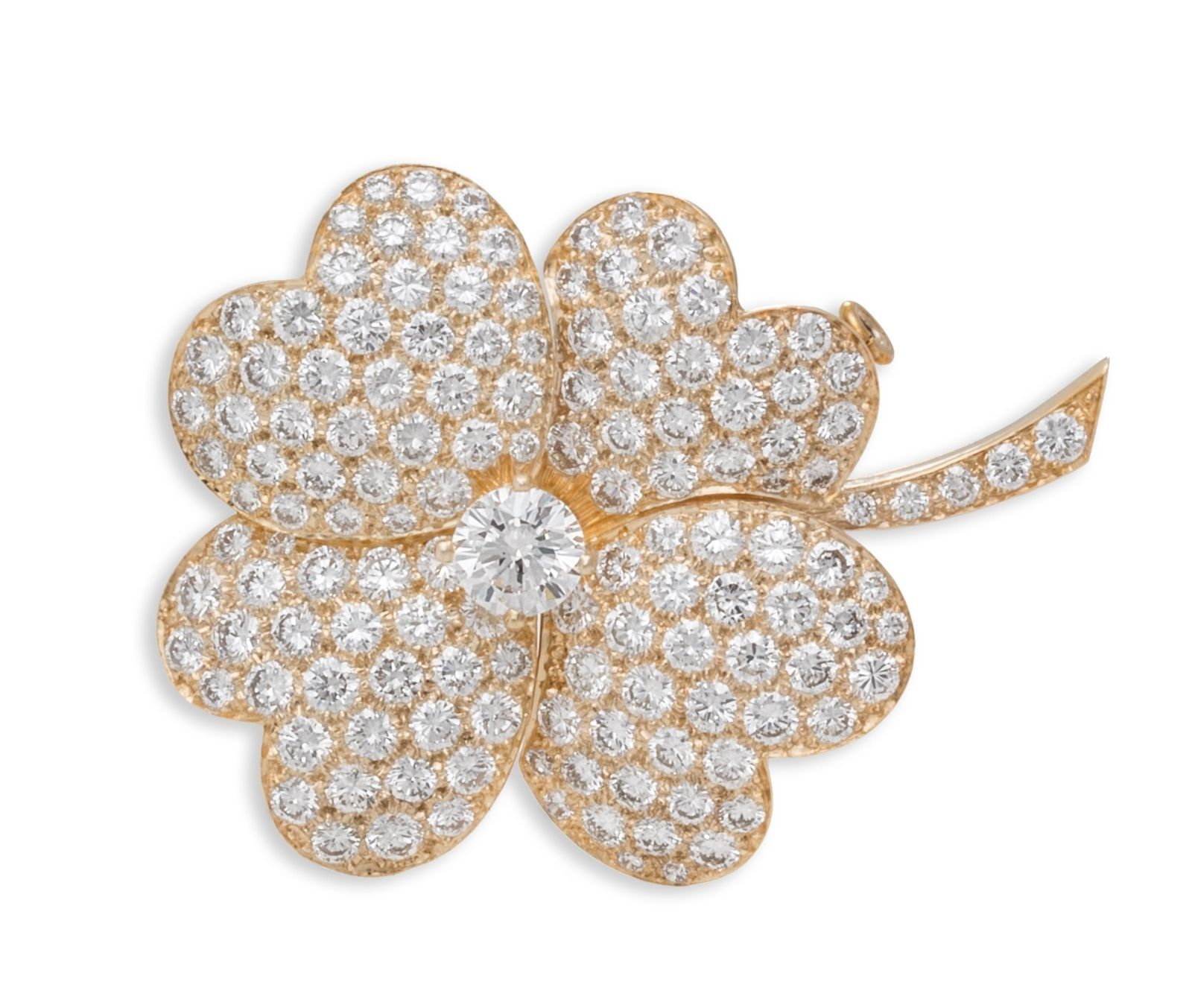 "Image of ""Van Cleef & Arpels Very Large Cosmos 18k Yellow Gold Diamond Clip"""