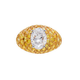 Van Cleef & Arpels 18k Yellow Gold and Platinum 2.04Ct Oval and Yellow Diamond Ring