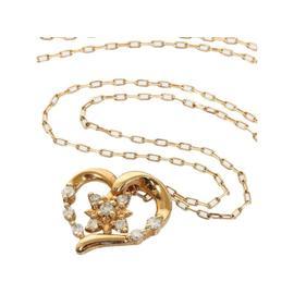 4℃ 10K Rose Gold Flower Diamonds Heart Pendant Necklace