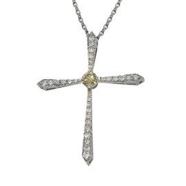 Platinum Brown & White Diamonds Cross Necklace