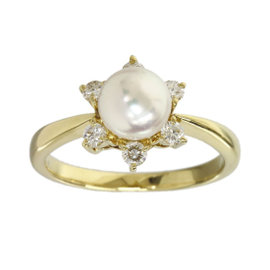 Mikimoto 18K Yellow Gold Pearl & Diamonds Flower Ring 5.25