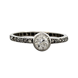 Platinum Old European 0.82ct Diamond Engagement Ring