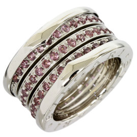 Bulgari B.Zero 1 18K White Gold Garnet Band Ring Size 4.25