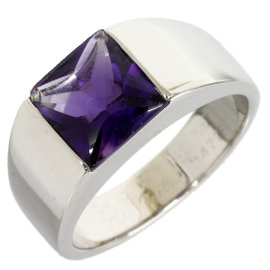 Cartier 18K White Gold Amethyst Tank Solitaire Ring Size 6