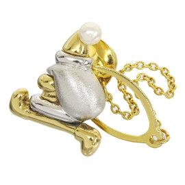 Mikimoto 18K White Gold & Yellow Gold Pearl Santa Claus Motif Design Tie Tack/Tie Pin