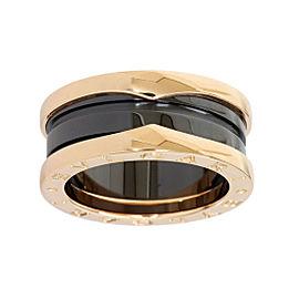 Bulgari Black Ceramic & 18K Pink Gold 3-Band Ring
