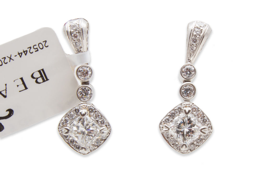 "Image of ""Michael Beaudry Couture Platinum 1.50 Ct Diamond Earrings"""