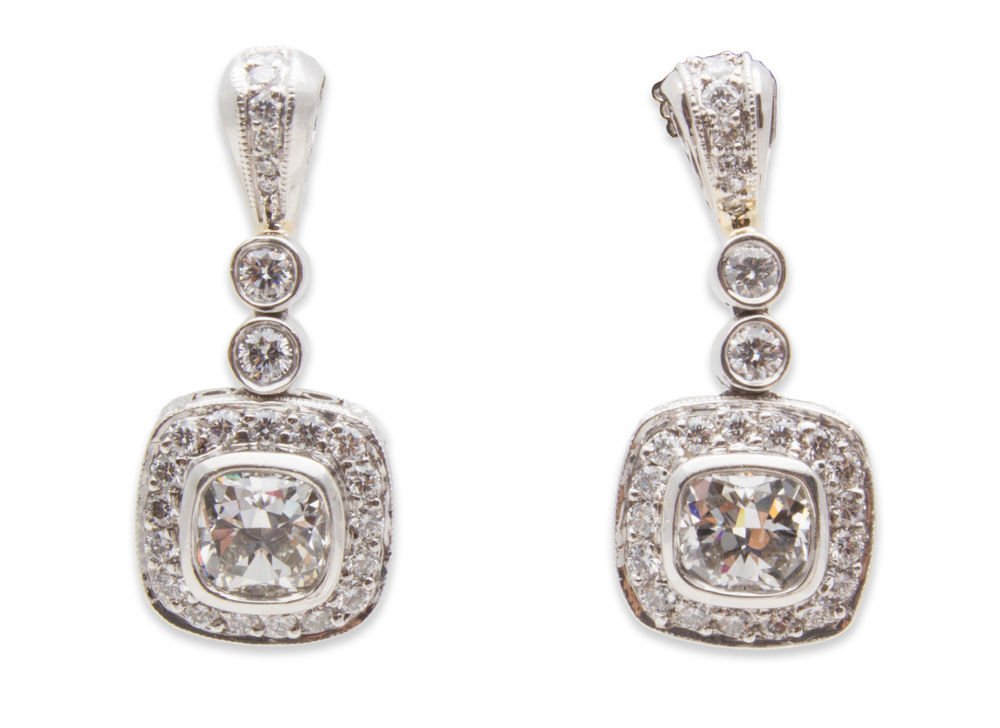 "Image of ""Michael Beaudry Couture Platinum 2.02 Ct Diamond Earrings"""