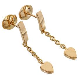 Cartier 18K Rose Gold Heart Drop Earrings