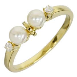 Mikimoto 18K Yellow Gold 0.02 Ct Pearl & 0.02 Ct Diamond Band Ring Size 4.5