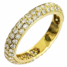 Cartier 18K Yellow Gold Paved Diamond Ring Size 5.5