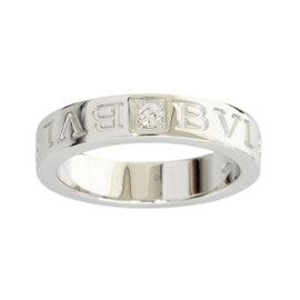 Bulagri 18K White Gold Double Logo 1P Diamond Ring