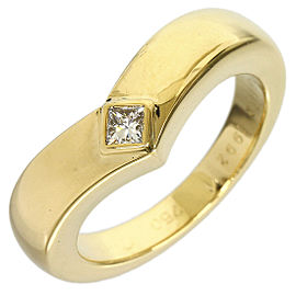 Cartier 18K Yellow Gold Diamond Curved Band Ring Size 5.25