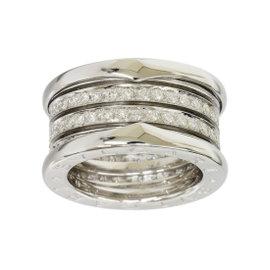 Bulgari B.ZERO1 18K White Gold 4-Band Diamond Ring Size Small