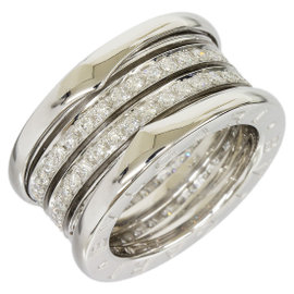 Bulgari B.ZERO1 18K White Gold 4-Band Diamond Ring Size Small