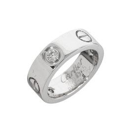 Cartier 18K White Gold Half Diamonds Love Ring Size 3.25