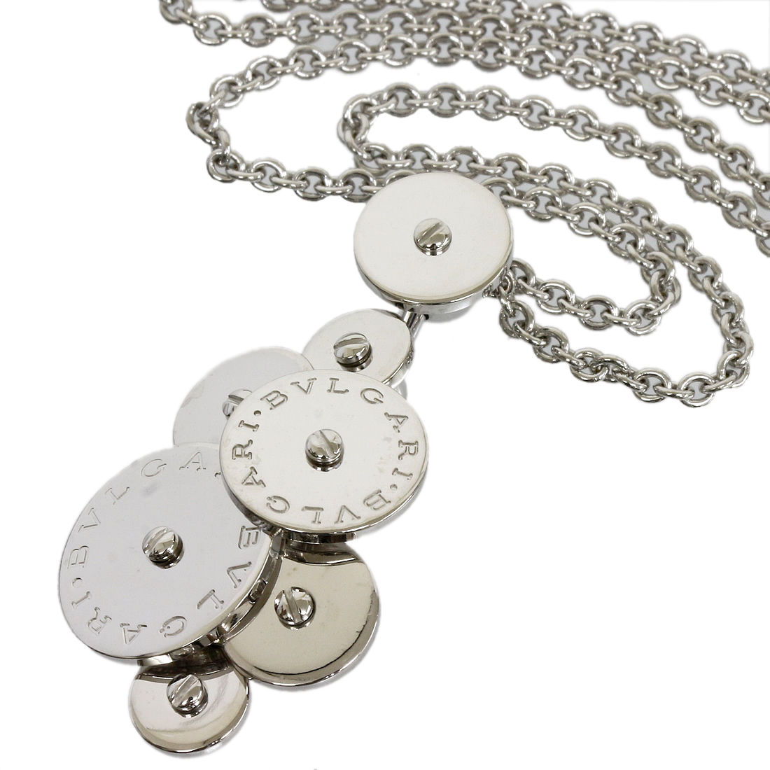 "Image of ""Bulgari 18K White Gold Cicladi Design Chain Pendant Necklace"""