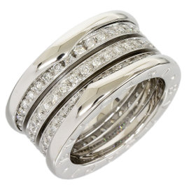 Bulgari B.ZERO1 18K White Gold 4-Band Full Diamond Ring Size Small