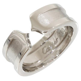 Cartier 18K White Gold Double C Motif Size 4.5 Ring