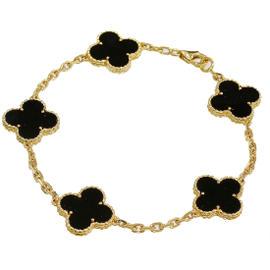 Van Cleef & Arpels 18K Yellow Gold Onyx Vintage Alhambra Bracelet