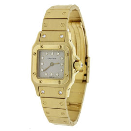 Cartier Santos 18K Yellow Gold & Diamond Dial Automatic 23mm Womens Watch