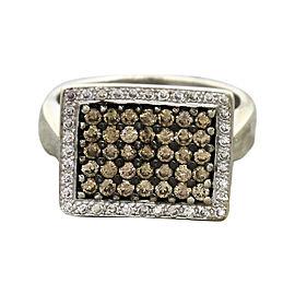 14K White Gold Chocolate 1.09 Ct Diamond Vintage Rectangular Ring