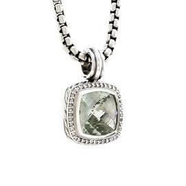David Yurman Sterling Silver Albion Prasiolite & Diamond Pendant