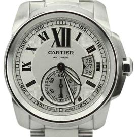Cartier Calibre W7100015 Stainless Steel Silver Dial 42mm Mens Watch