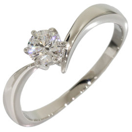 Mikimoto Platinum 0.32 Ct Solitaire Diamond Ring Size 6.5