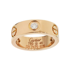 Cartier 18K Rose Gold 3 Diamonds Love Ring Size 4