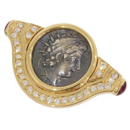 Bulgari 18K Yellow Gold Ancient Coin Monete Diamonds Brooch