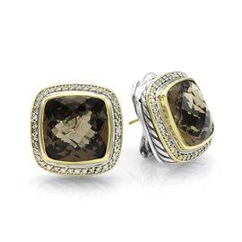 David Yurman 925 Sterling Silver & 18K Yellow Gold Quartz & Diamonds Albion Earrings