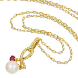 Mikimoto 18K Yellow Gold Pearl & Ruby Design Pendant Necklace