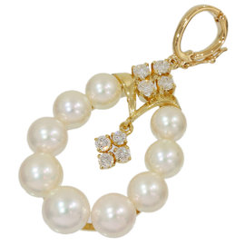 Mikimoto 18K Yellow Gold Pearl & Diamonds Pendant